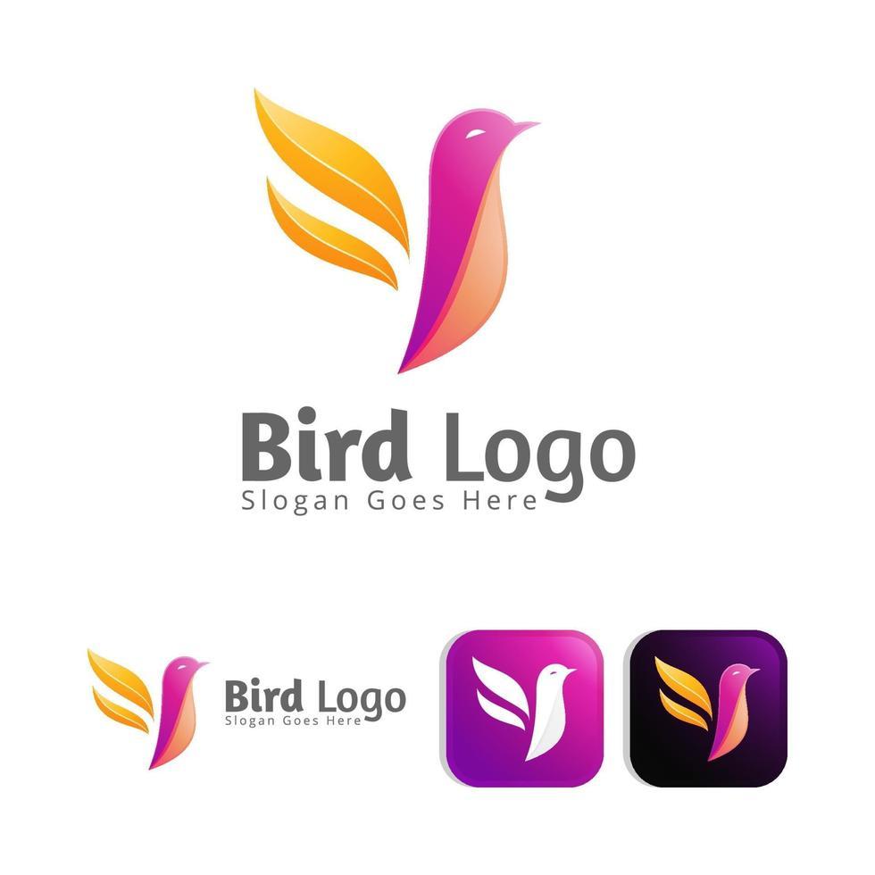 modern colour bird logo concept design vector