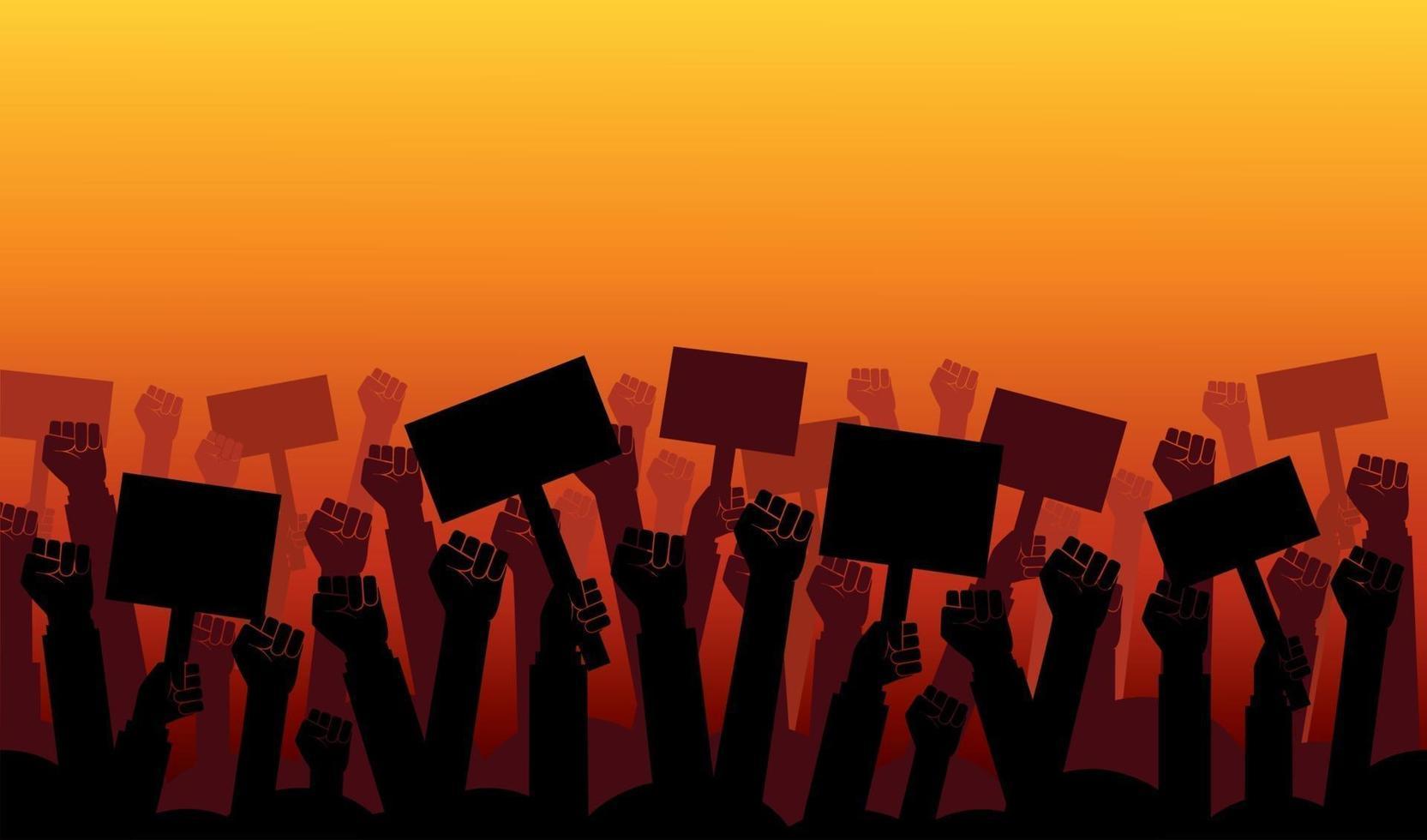 grupo de puños levantados en el aire. grupo de manifestantes puños levantados en el aire ilustración vectorial vector