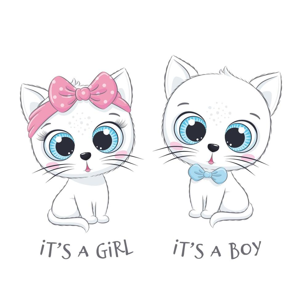 Cute baby cat with phrases It's a boy and It's a girl vector
