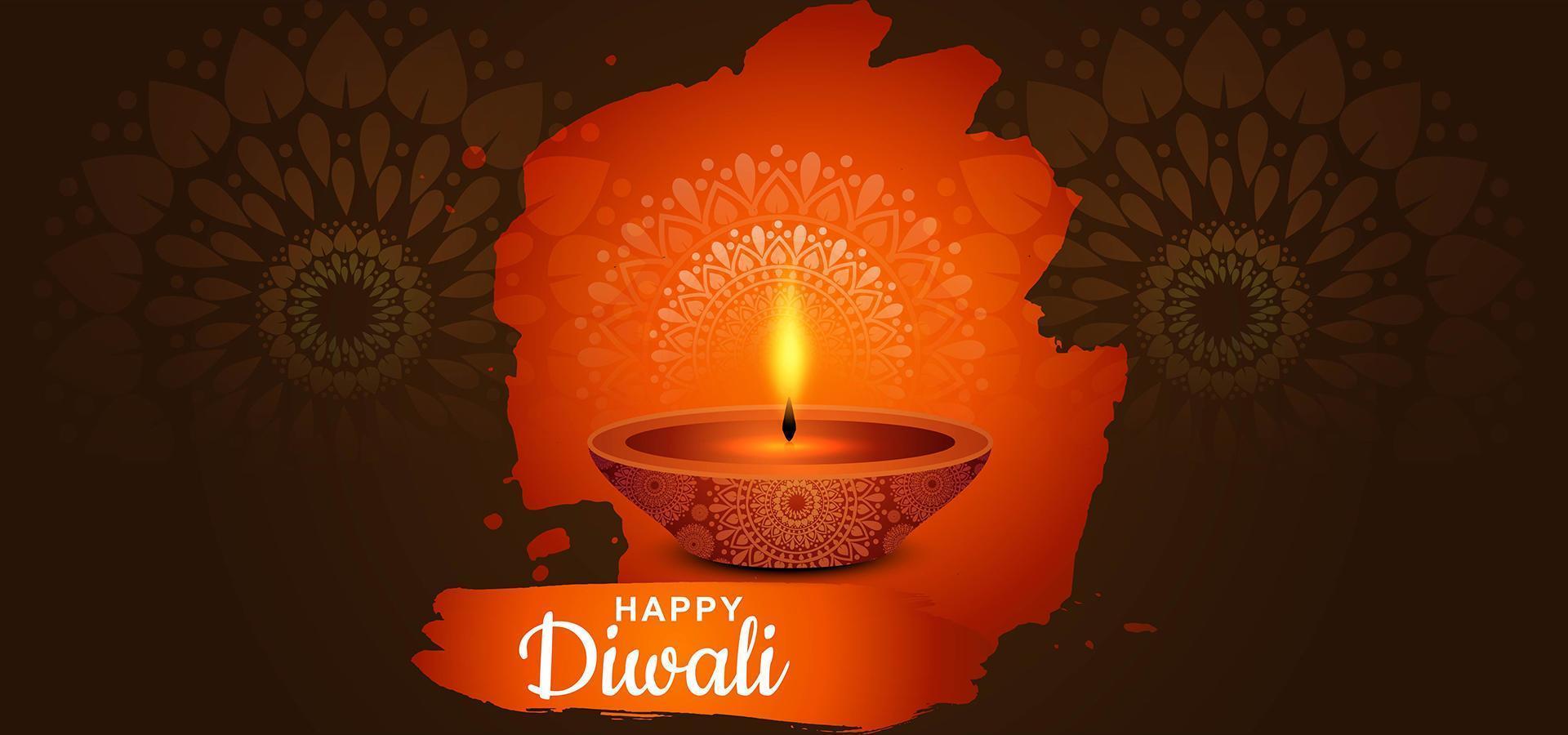 lámpara de aceite diya india para el festival de luces fondo feliz diwali vector