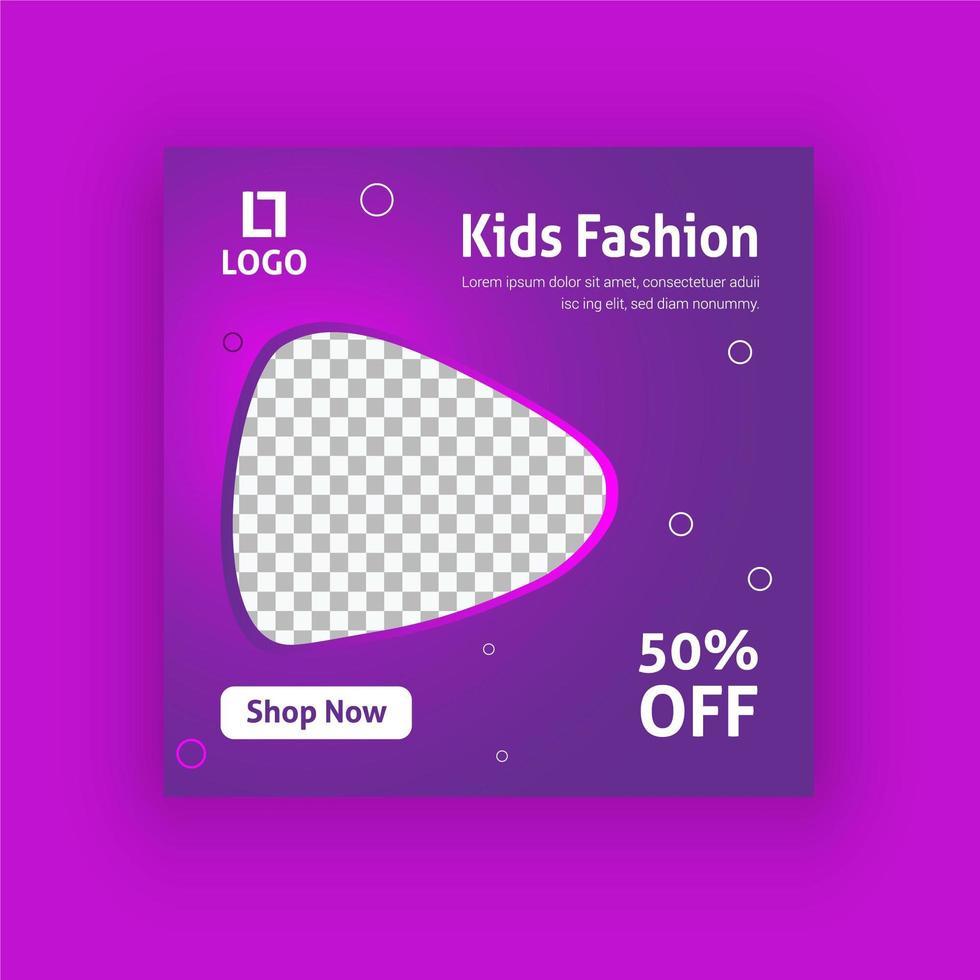 plantilla de publicación de redes sociales de moda infantil vector