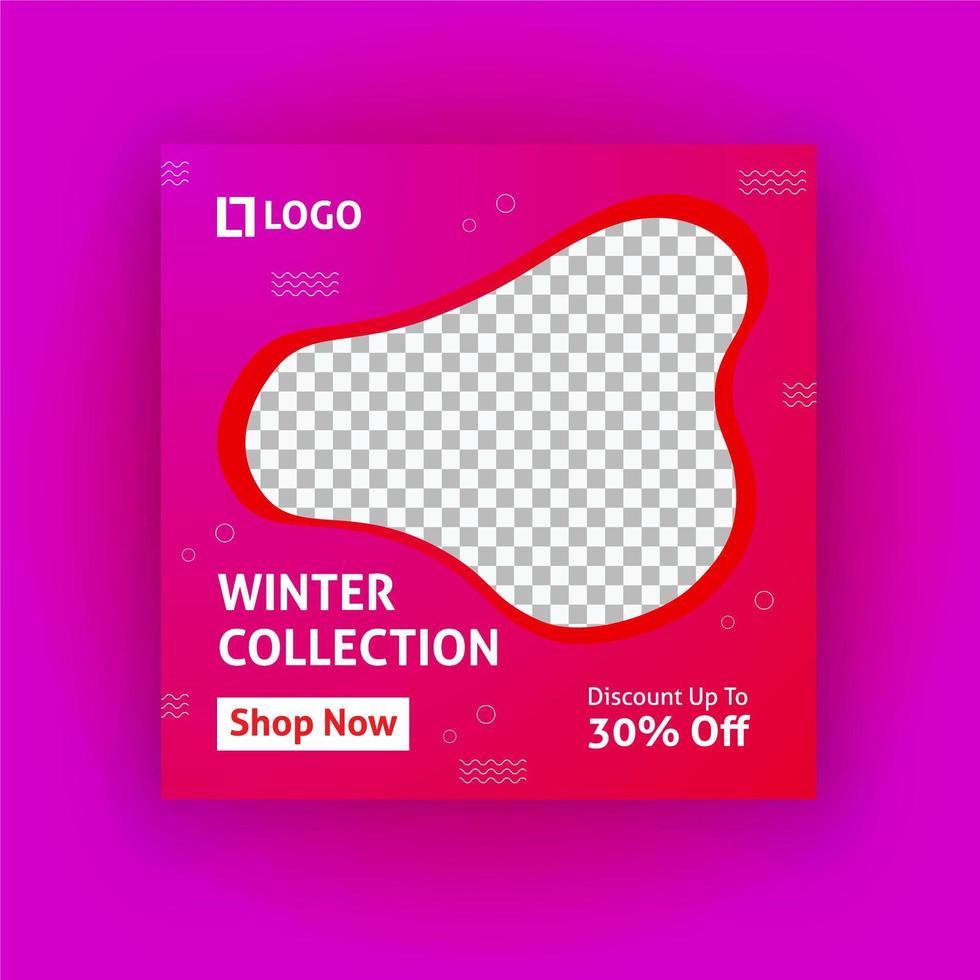 plantilla de publicación de redes sociales de la colección de invierno vector