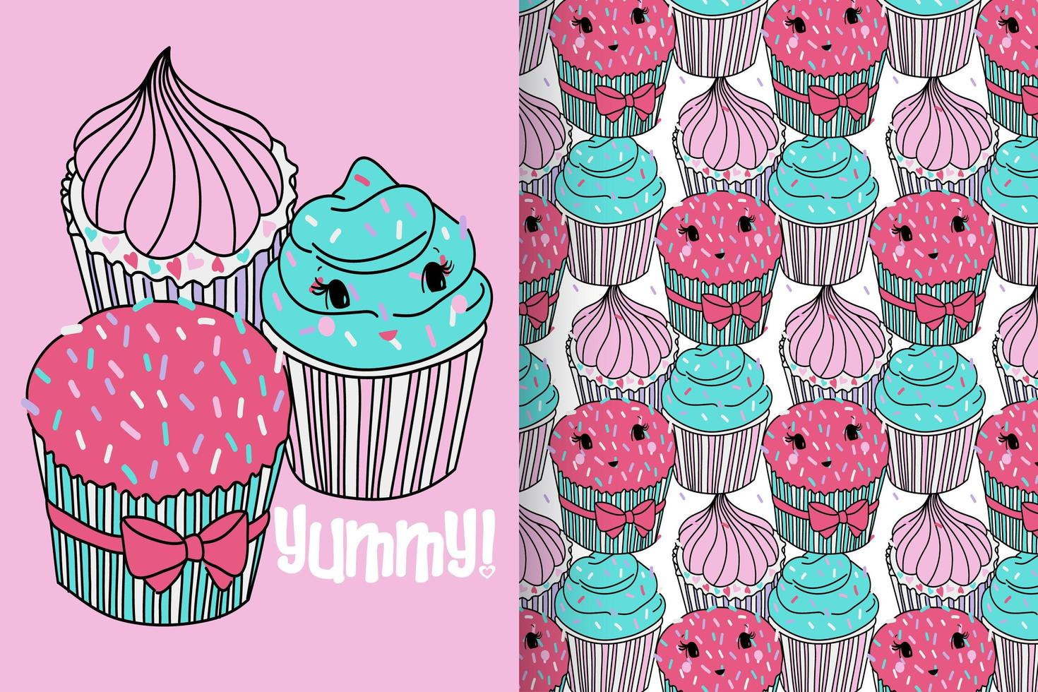Hand drawn cute cupcake with pattern set vector
