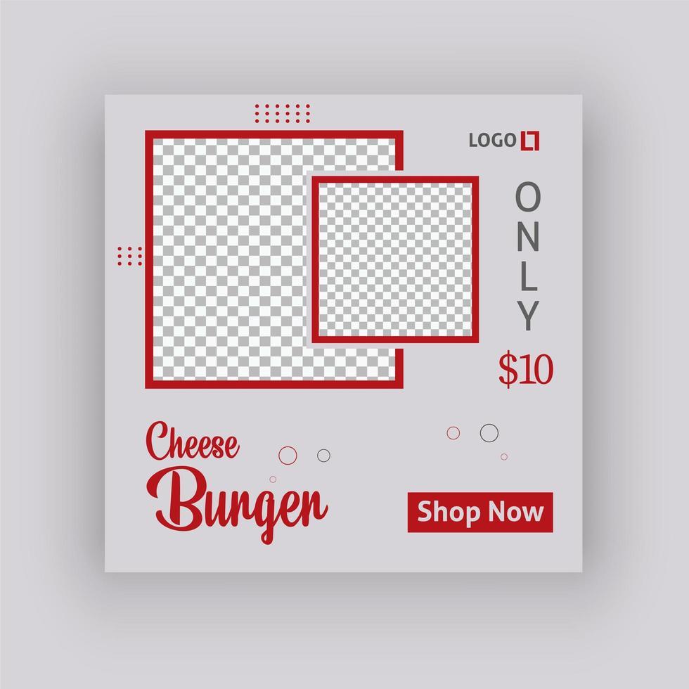 plantilla de publicación de redes sociales de hamburguesa con queso vector