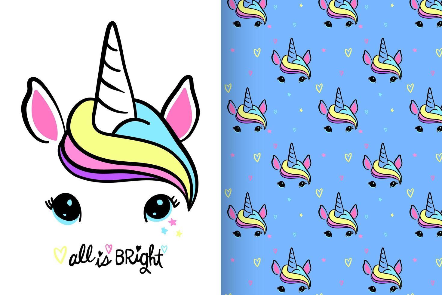 unicornio lindo dibujado a mano con conjunto de patrones vector