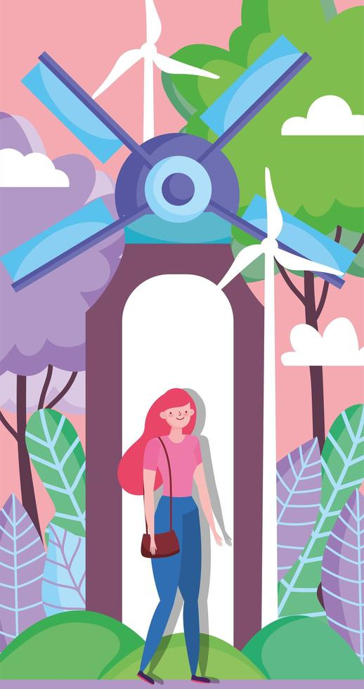 woman with wind energy turbines for ecology concept vector