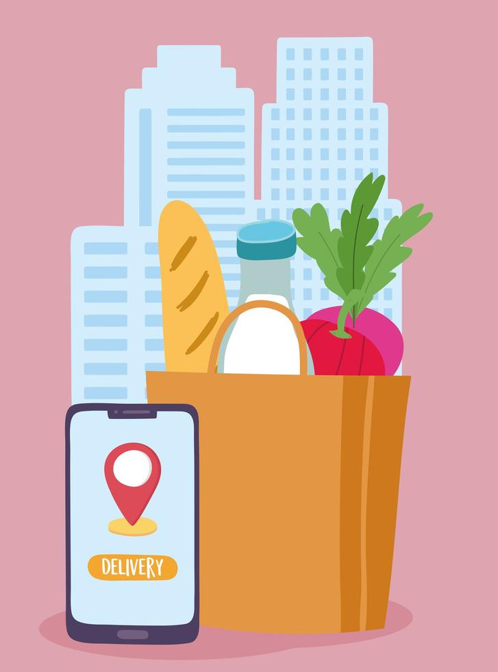 concepto de entrega segura durante el coronavirus con bolsa de comestibles y teléfono inteligente vector