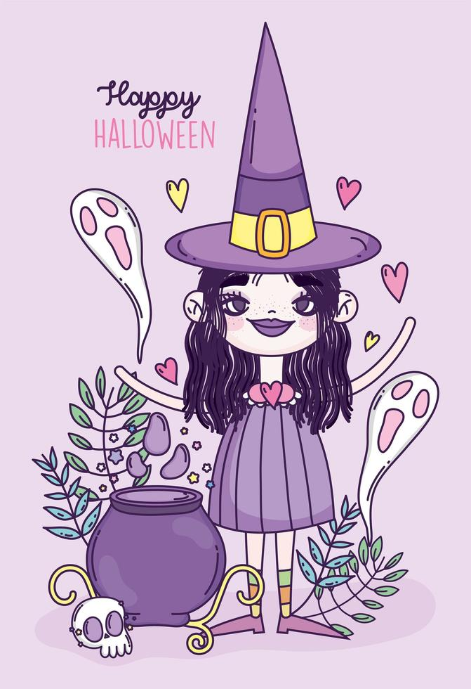 Cute Halloween poster with little witch vector