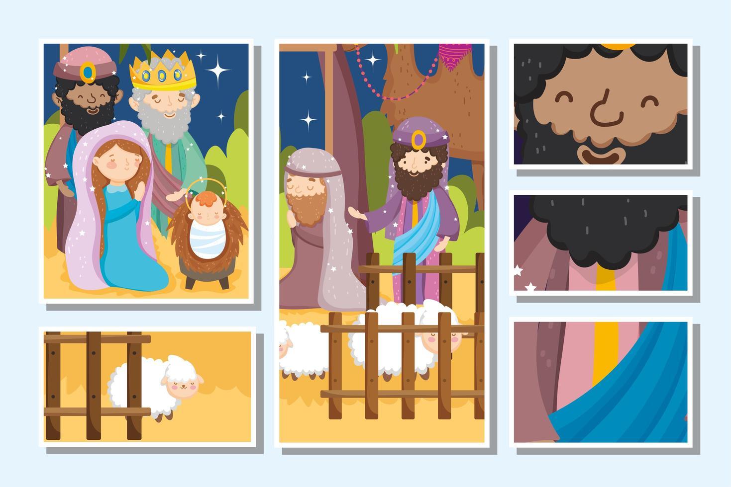 feliz navidad y tarjeta de natividad vector