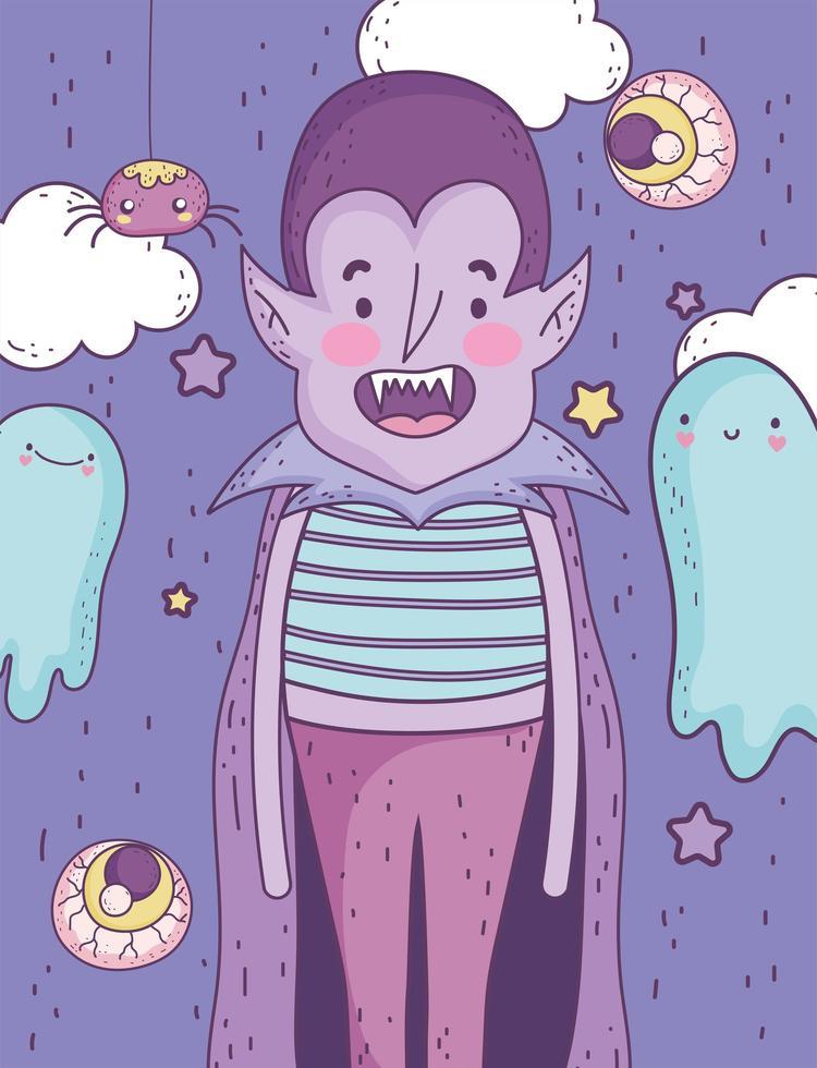 lindo cartel de halloween con vampiro vector