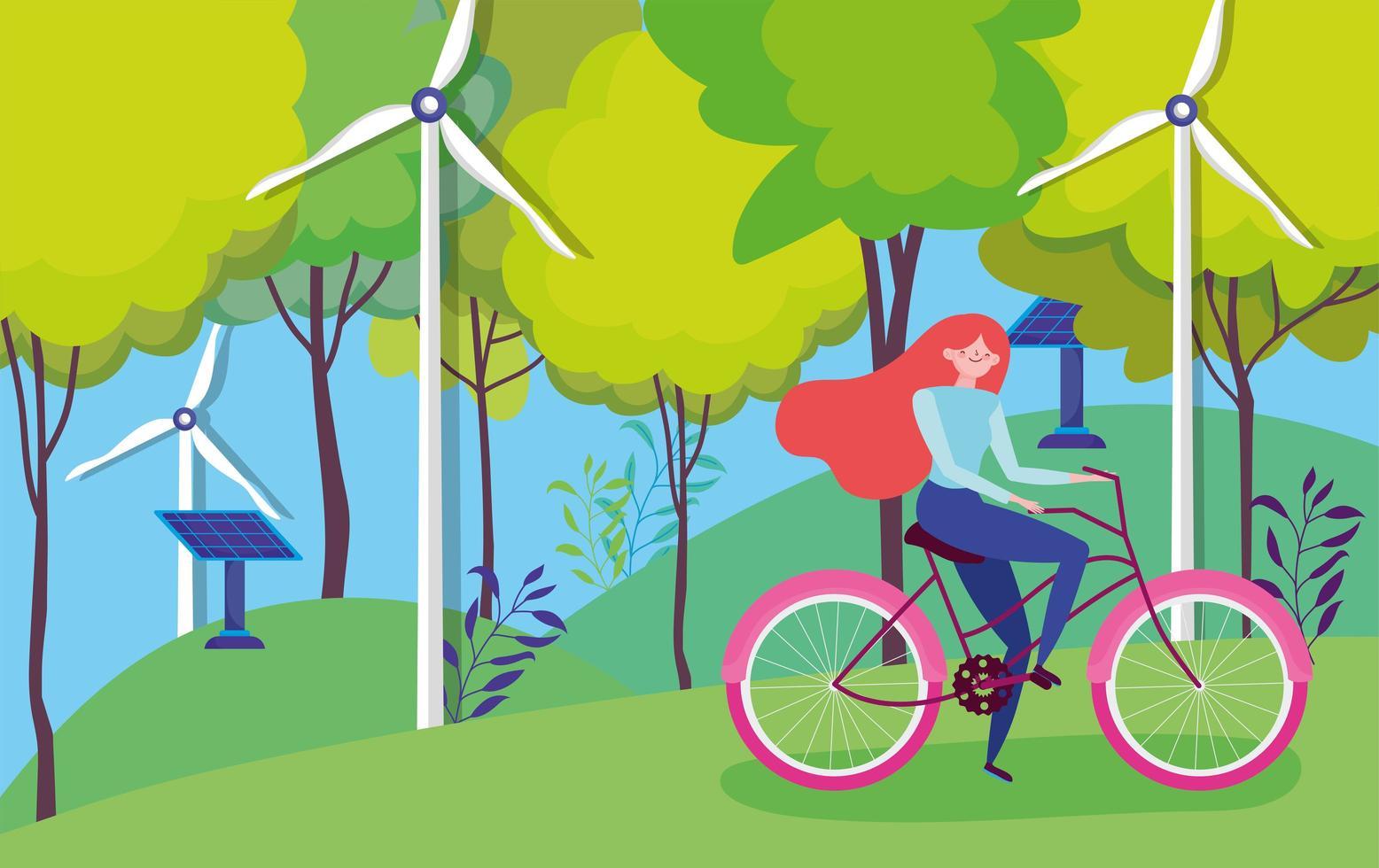 Mujer en bicicleta por turbinas eólicas y paneles solares. vector