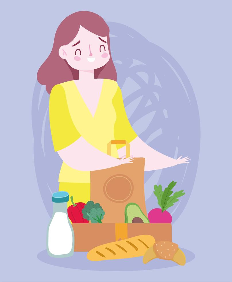 mujer con una bolsa de comestibles vector