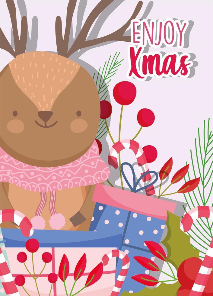 lindo reno de invierno con bufanda, bayas y follaje para navidad vector
