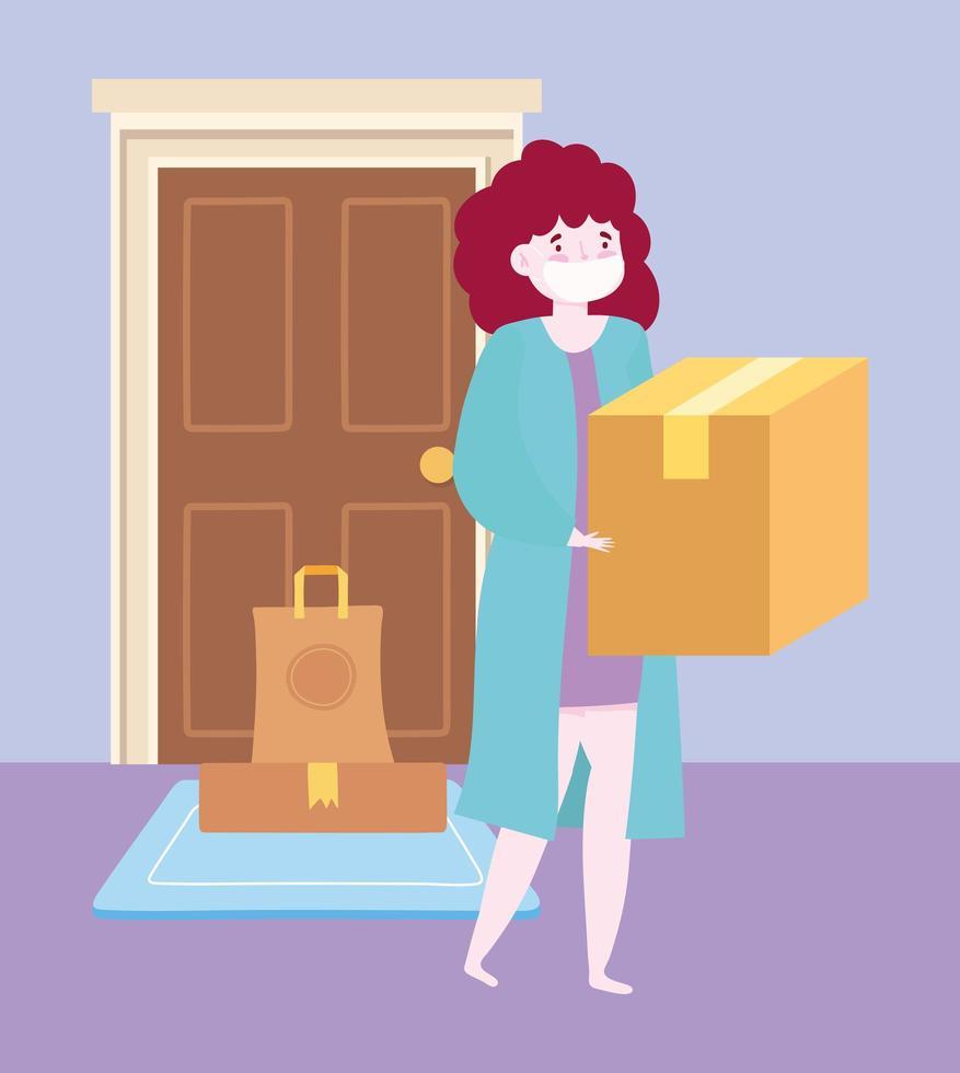 concepto de entrega segura durante el coronavirus con mujer que lleva una caja vector