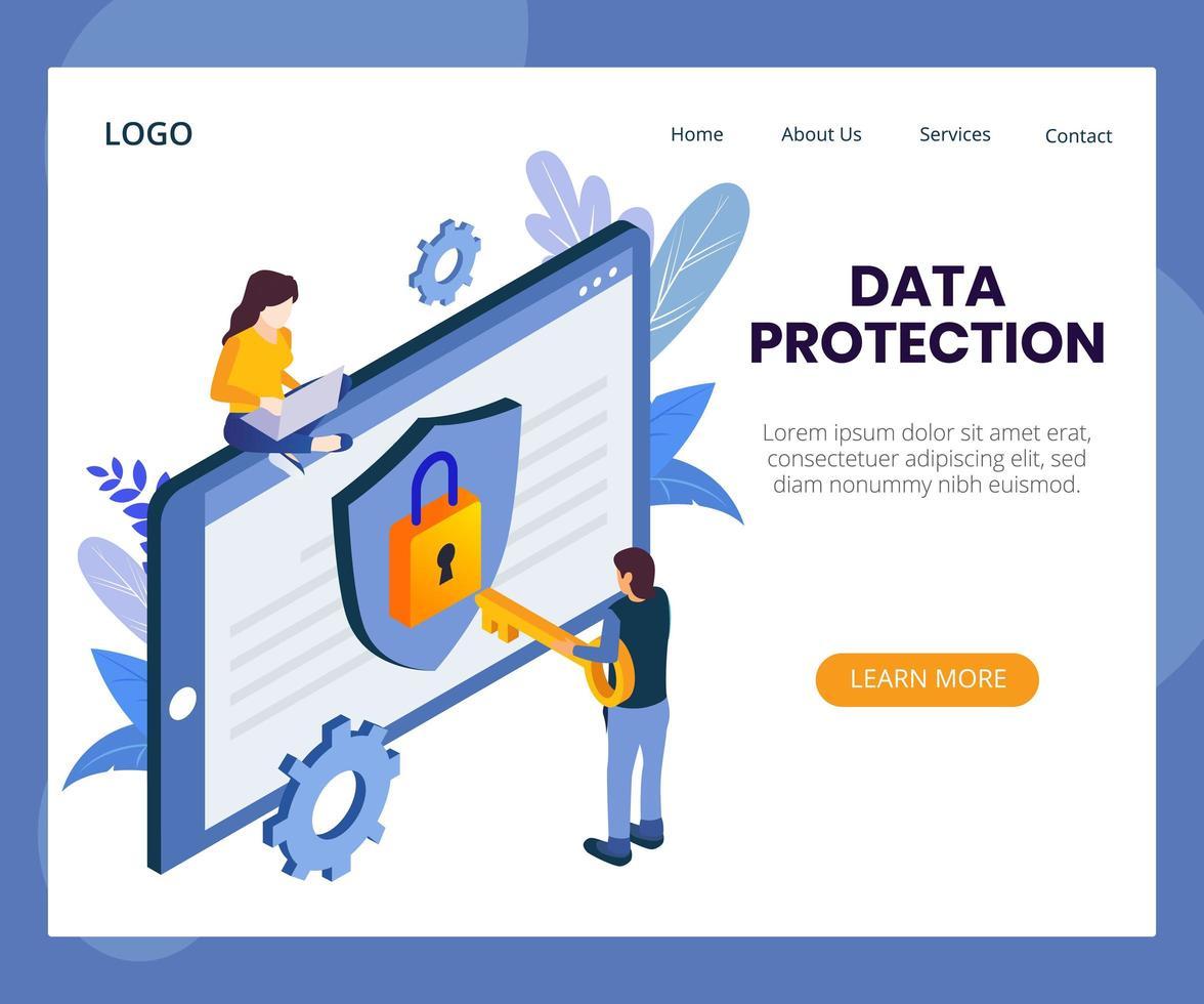 ilustración isométrica del concepto de protección de datos vector