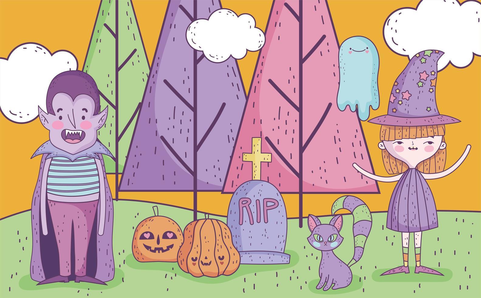 lindo cartel de halloween con pequeños personajes vector
