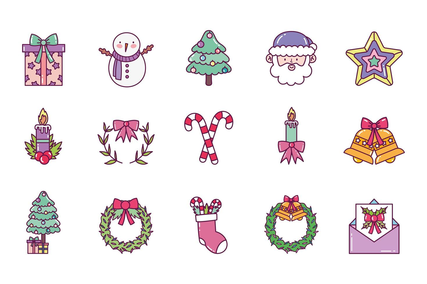 feliz navidad, conjunto de iconos vector