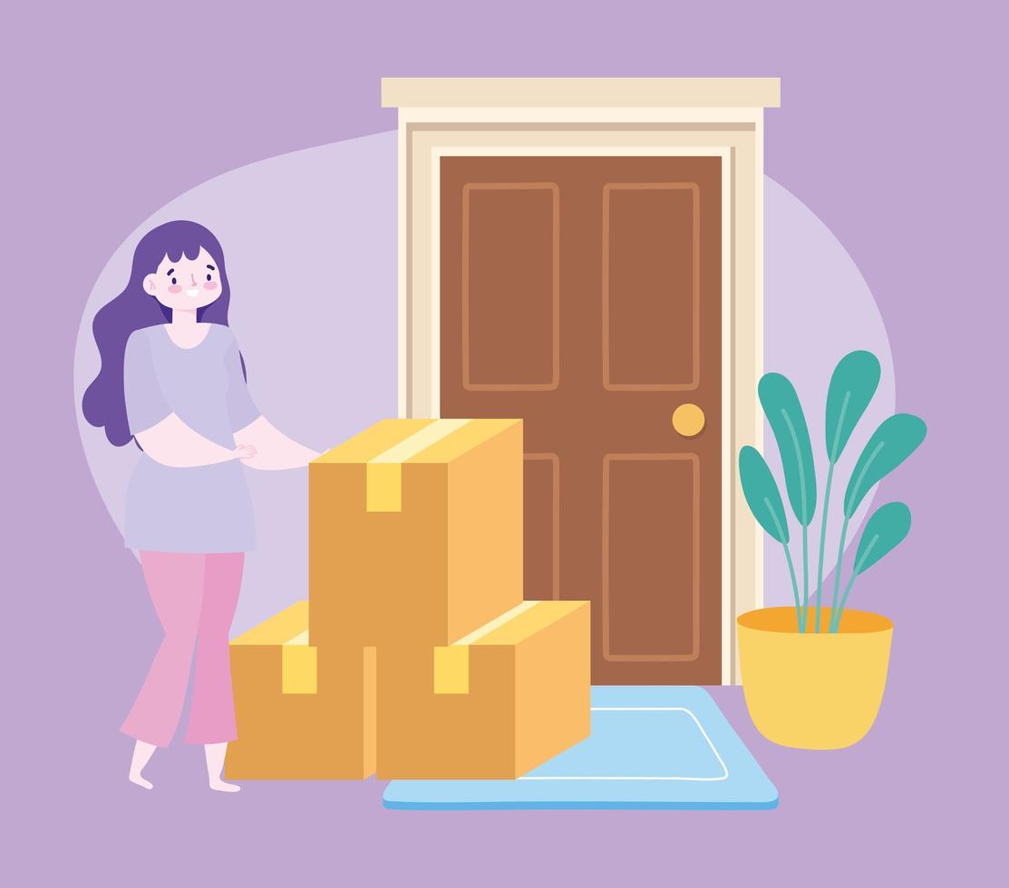 concepto de entrega segura durante el coronavirus con clienta con cajas de cartón vector