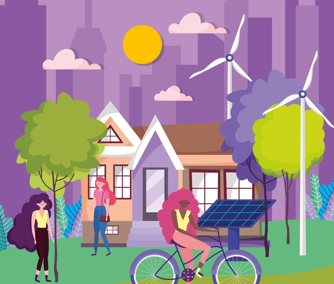mujeres haciendo actividades al aire libre en una ciudad ecológica. vector