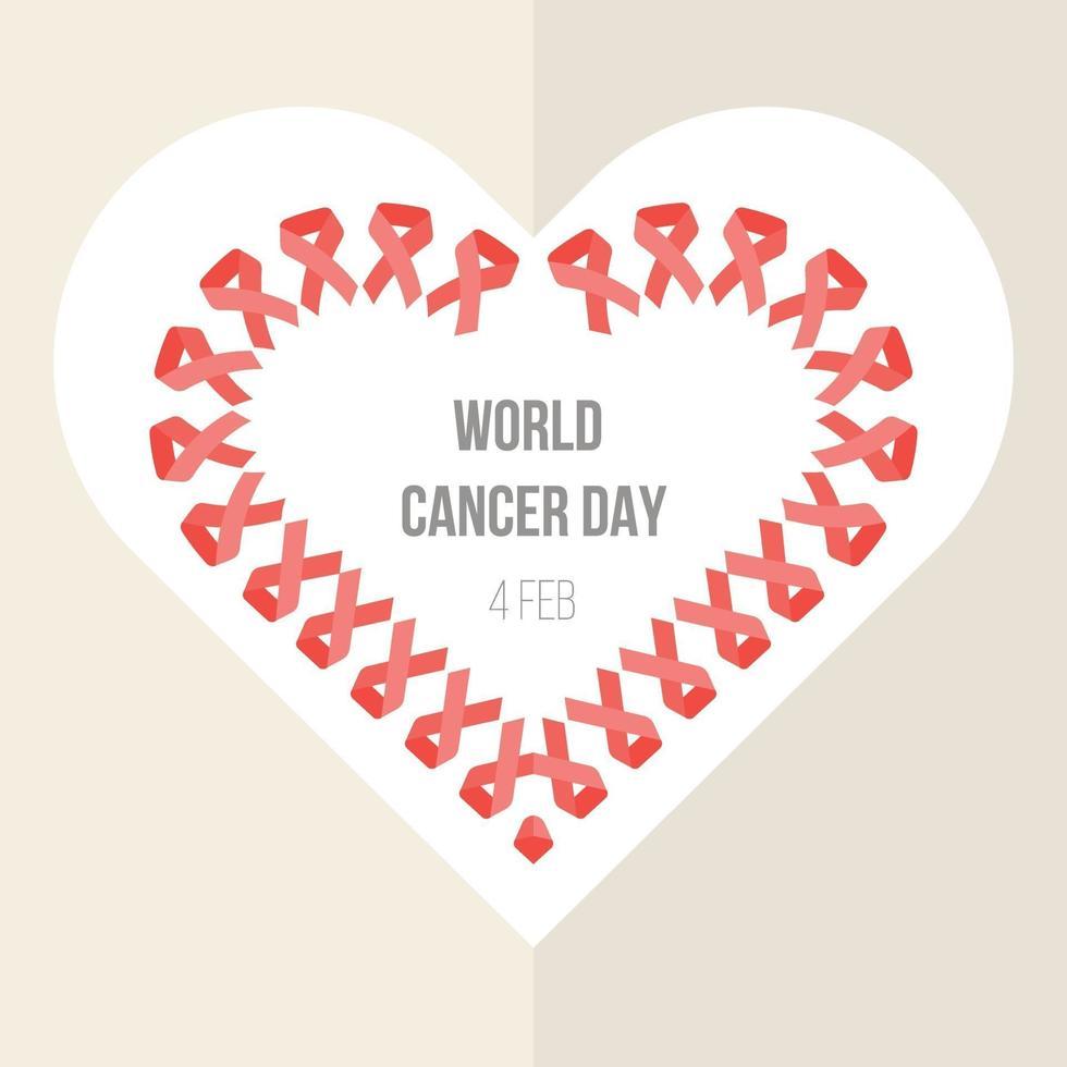 banner del día mundial del cáncer con forma de corazón de cinta vector