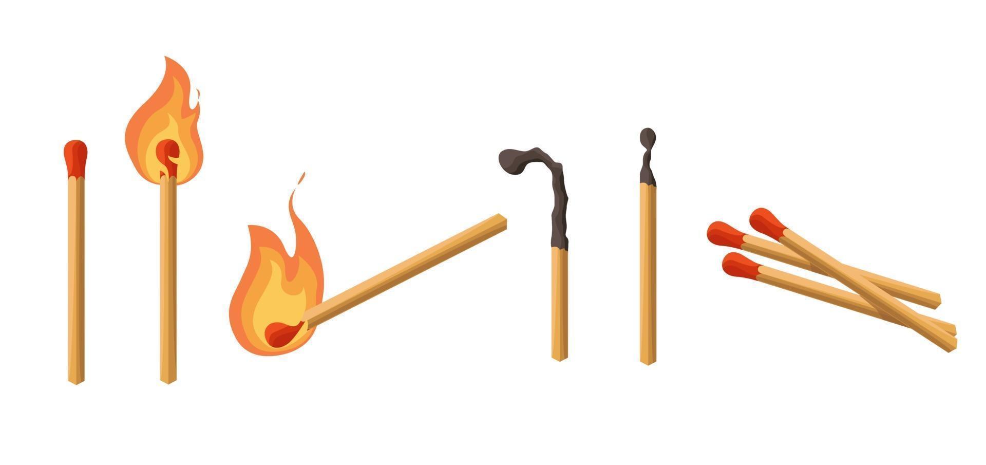 fósforos establecidos. fósforo encendido con fuego, fósforo carbón. luces. estilo de dibujos animados de ilustración vectorial aislado sobre fondo blanco. vector