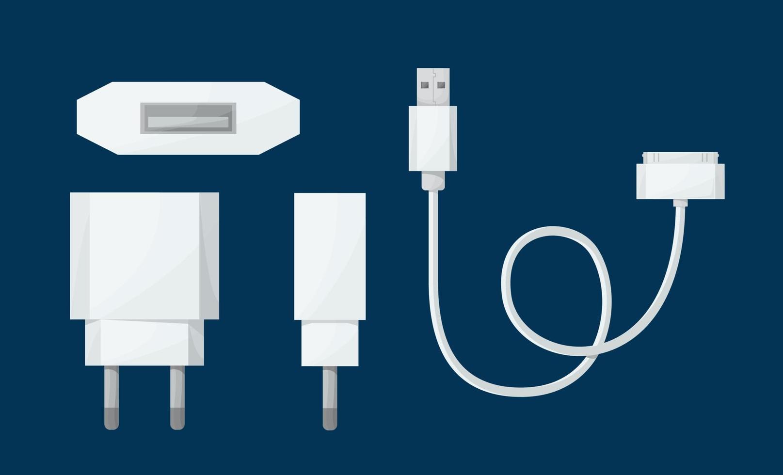 Adaptador de cargador USB para teléfono inteligente en una vista diferente con micro cable USB de 30 pines. ilustración vectorial en estilo de dibujos animados. vector
