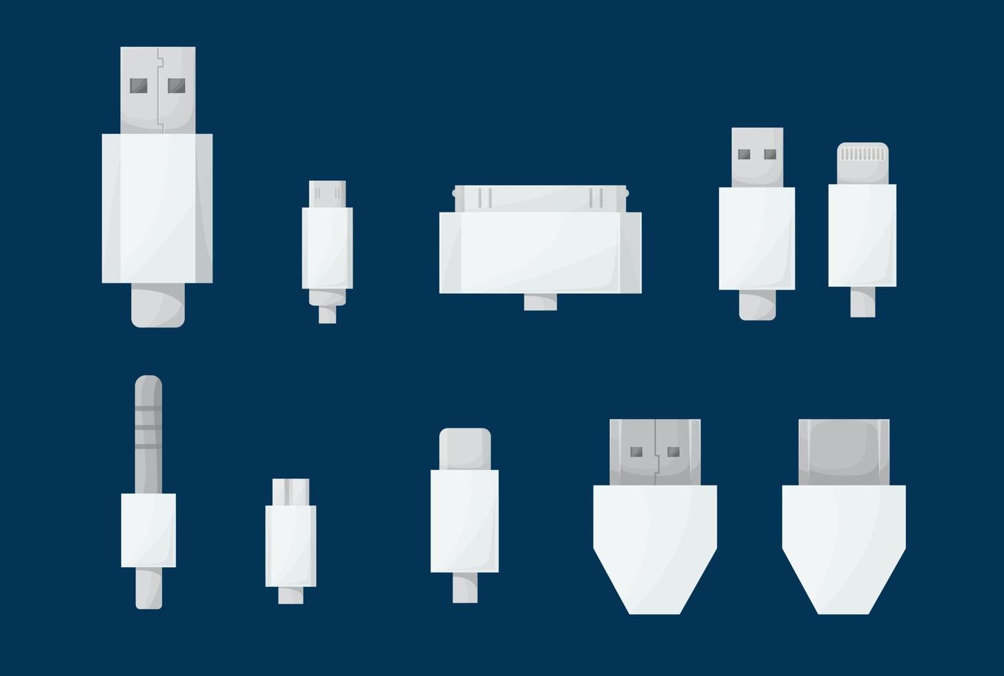 juego de cables usb. enchufes tipo a, by tipo c, mini, micro, lightning, hdmi, 30 pines, jack. conectores de cable blanco de computadora universal.Ilustración de vector en estilo de dibujos animados.