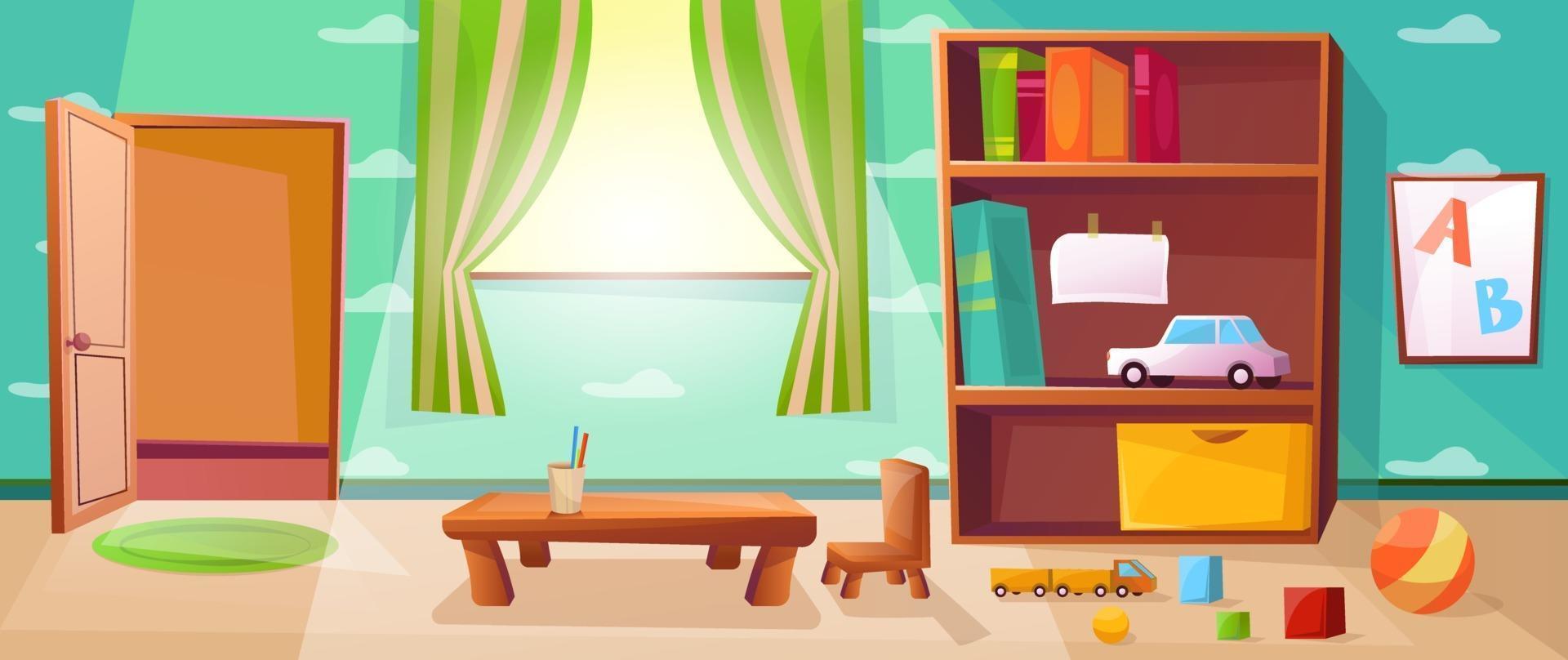 sala de juegos de jardín de infantes con juegos, juguetes, abc y puerta abierta. Clase de escuela primaria con ventana y mesa para niños o niños. papel tapiz con ilustración de nubes. vector