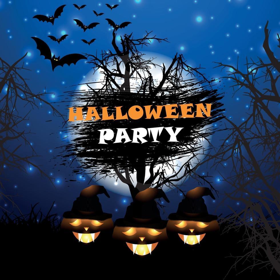 diseño de cartel de fiesta de halloween con calabazas vector