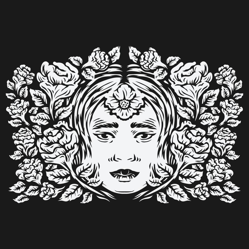 Cabeza de mujer rodeada de flores rosas ilustración vectorial vector