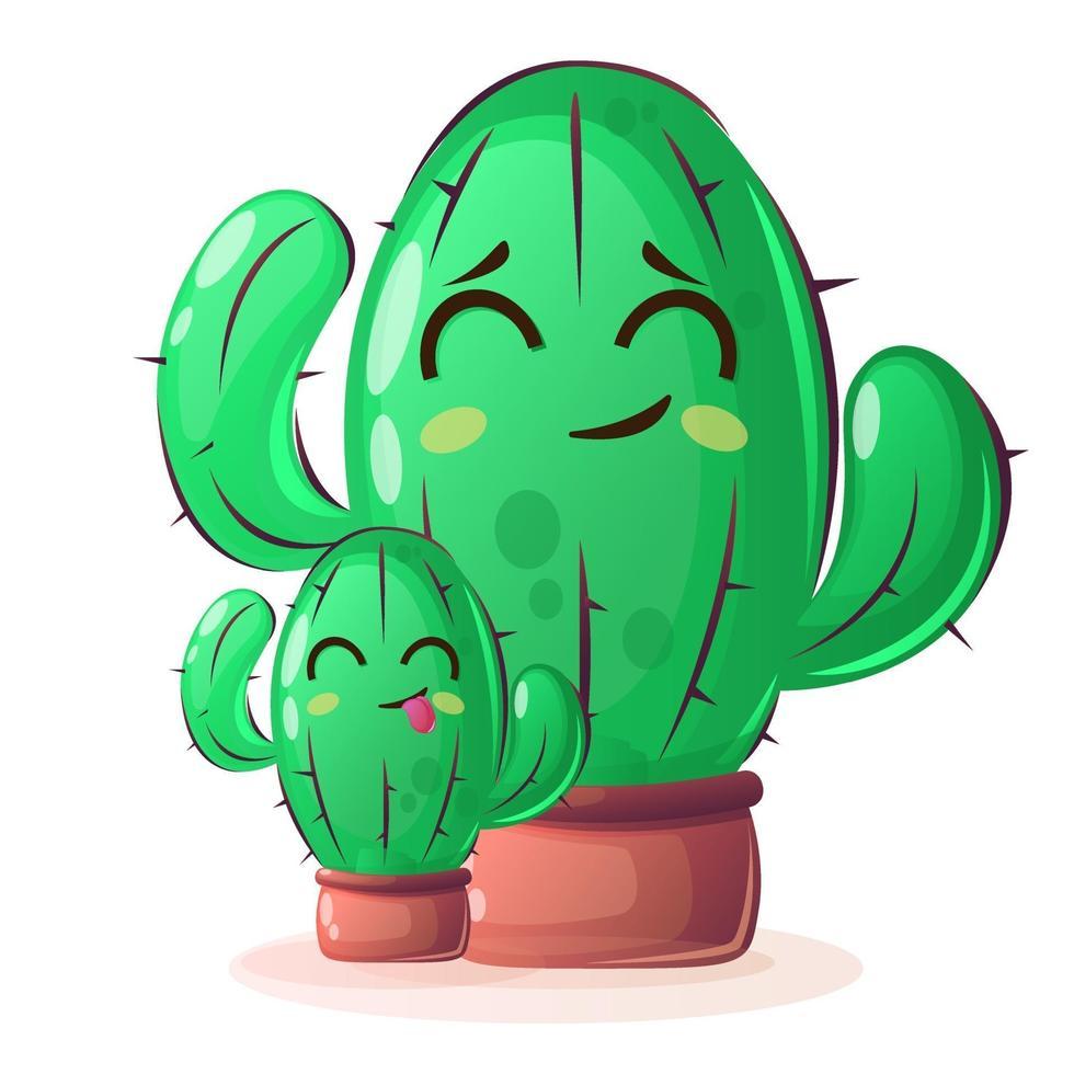 Plantas de cactus con caras felices en estilo de dibujos animados sobre fondo aislado vector