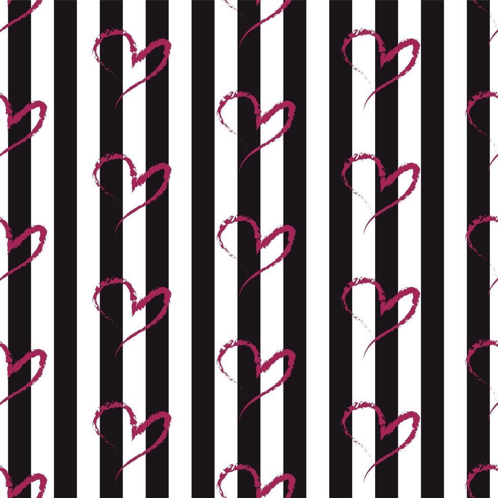 patrón de corazón dibujado a mano sin costura vector