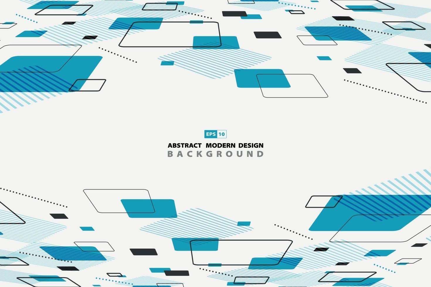 Forma azul abstracta de fondo de perspectiva de decoración de diseño de patrón geométrico. vector de ilustración