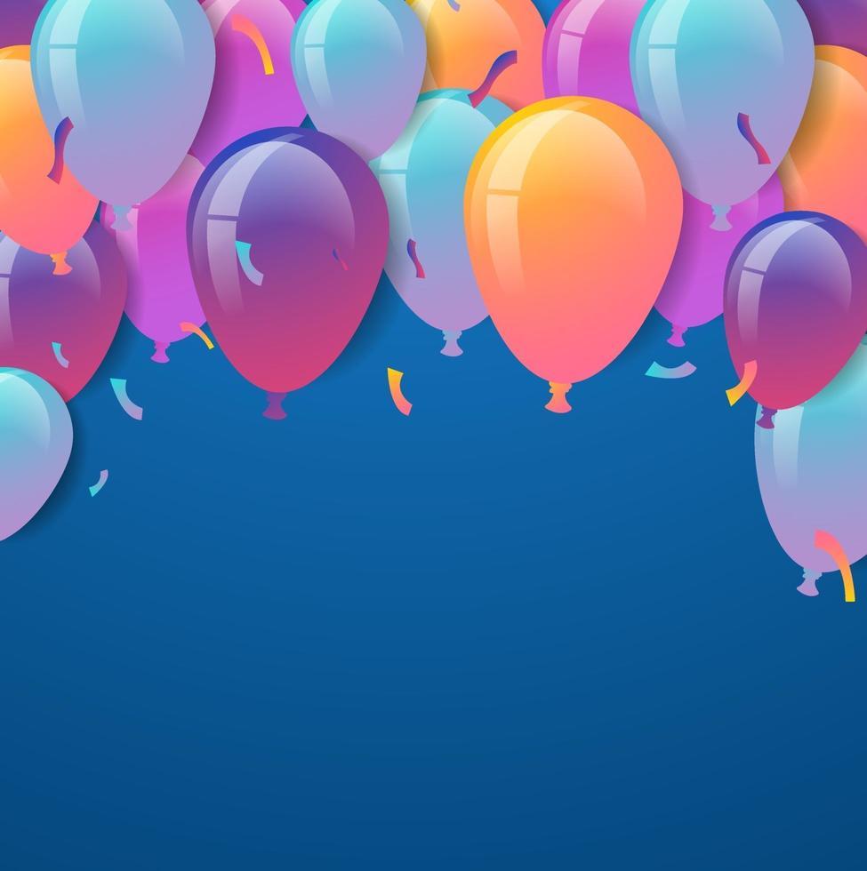 feliz cumpleaños. globos con confeti sobre fondo azul. vector