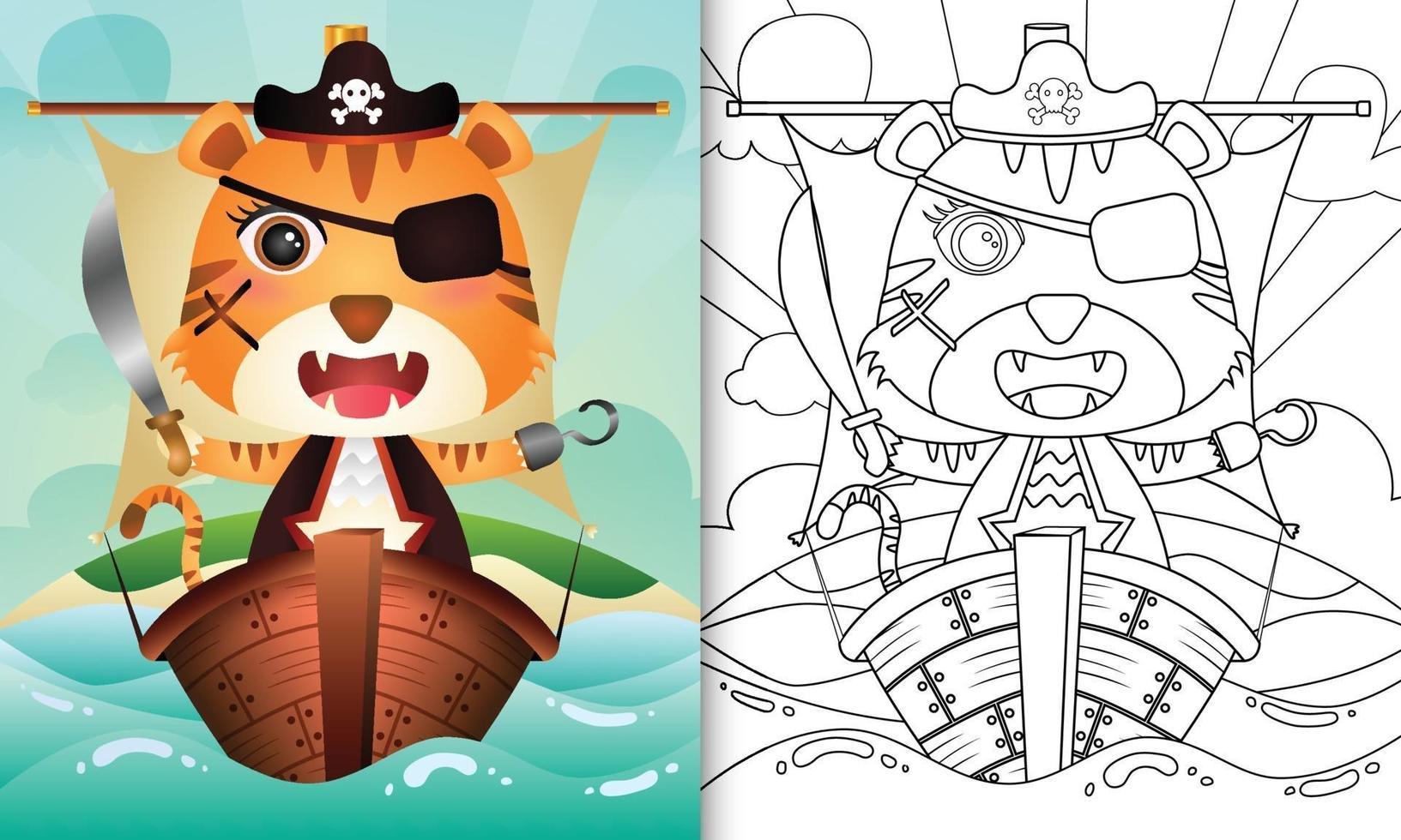 libro para colorear para niños con una linda ilustración de personaje de tigre pirata vector
