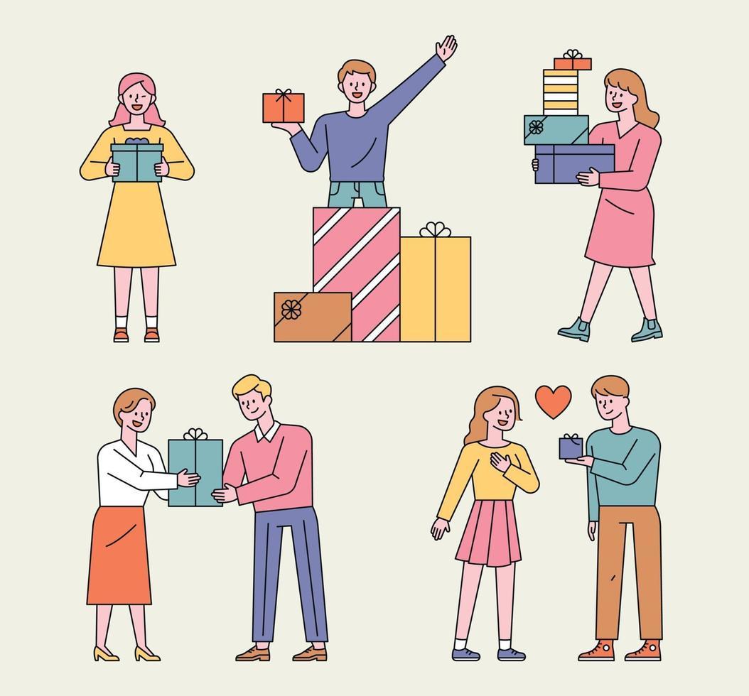 personas con cajas de regalo. la gente apila cajas de regalo y está feliz y da regalos a sus seres queridos. vector