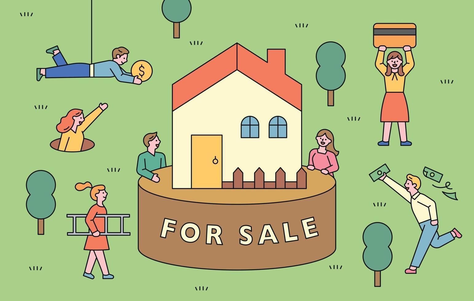 una casa en venta. la gente se está juntando para comprar la casa con dinero. vector