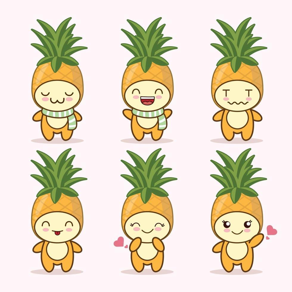 piña linda expresión set colección. personaje de mascota de piña vector