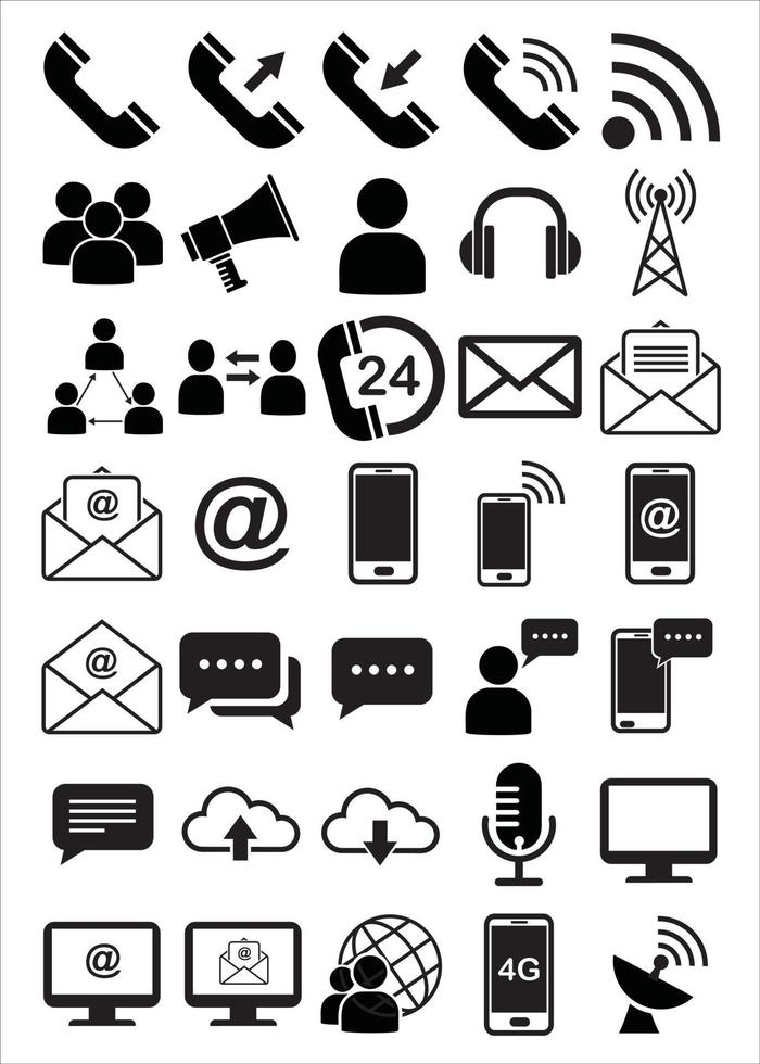 communication interface icon set vector