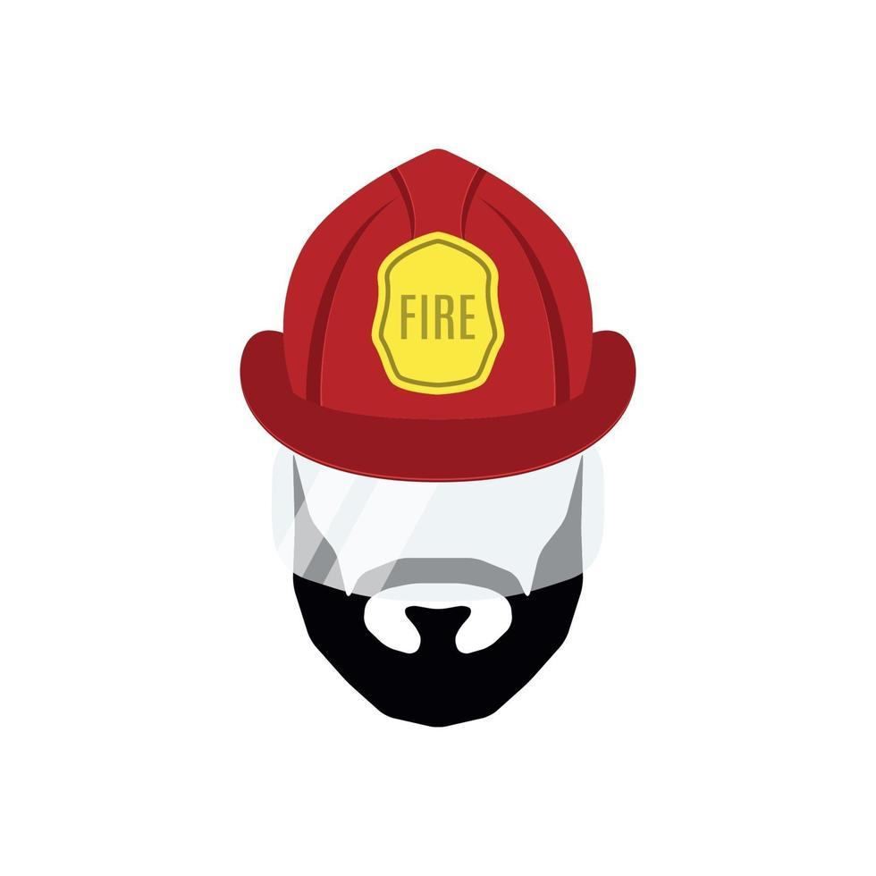 icono plano bombero hombre aislado sobre fondo blanco. emblema del departamento de bomberos. vector