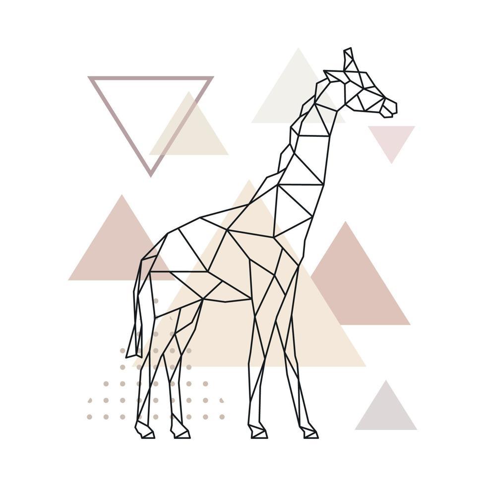 jirafa geométrica sobre fondo de triángulos simples. vector