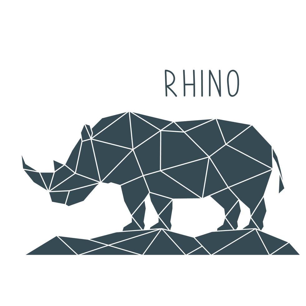 Ilustración de rinoceronte poligonal. cartel geométrico con animal salvaje y letras. vector