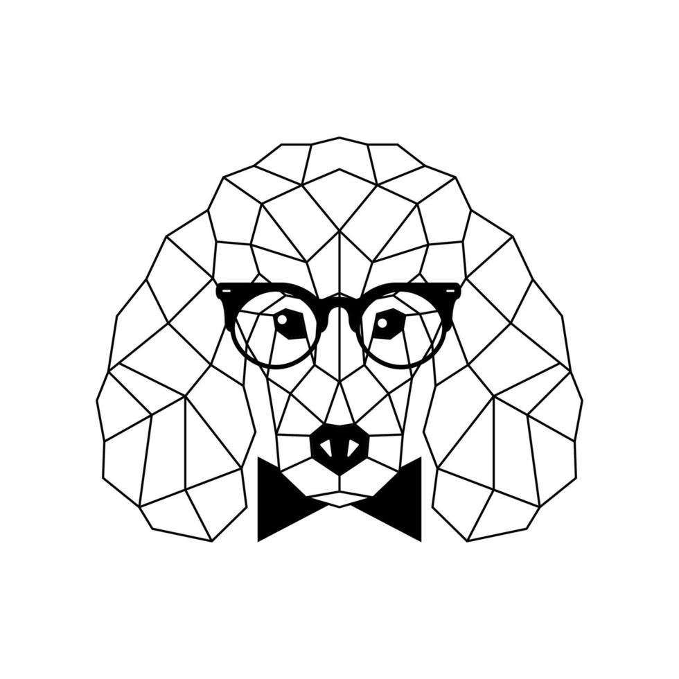 perro caniche poligonal en gafas de moda y pajarita. icono de perro geométrico. vector