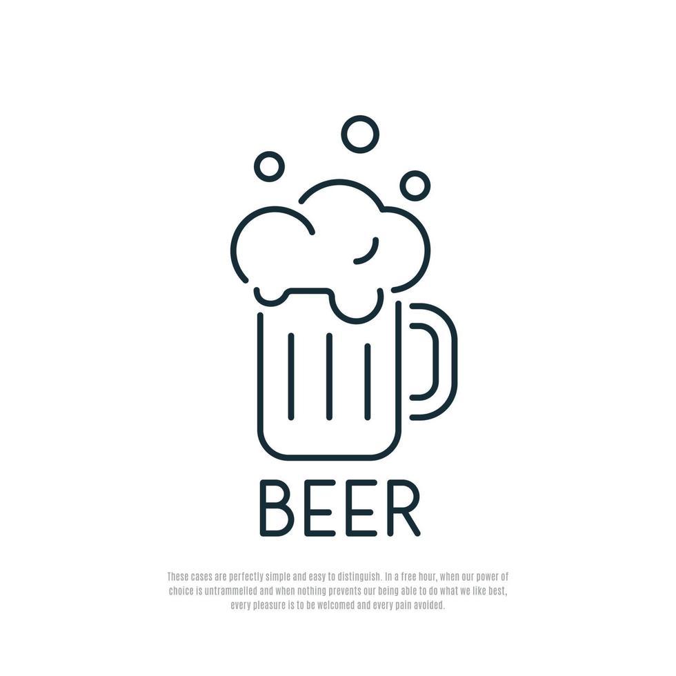 icono de cerveza. jarra de cerveza con espuma. estilo de arte de línea. vector