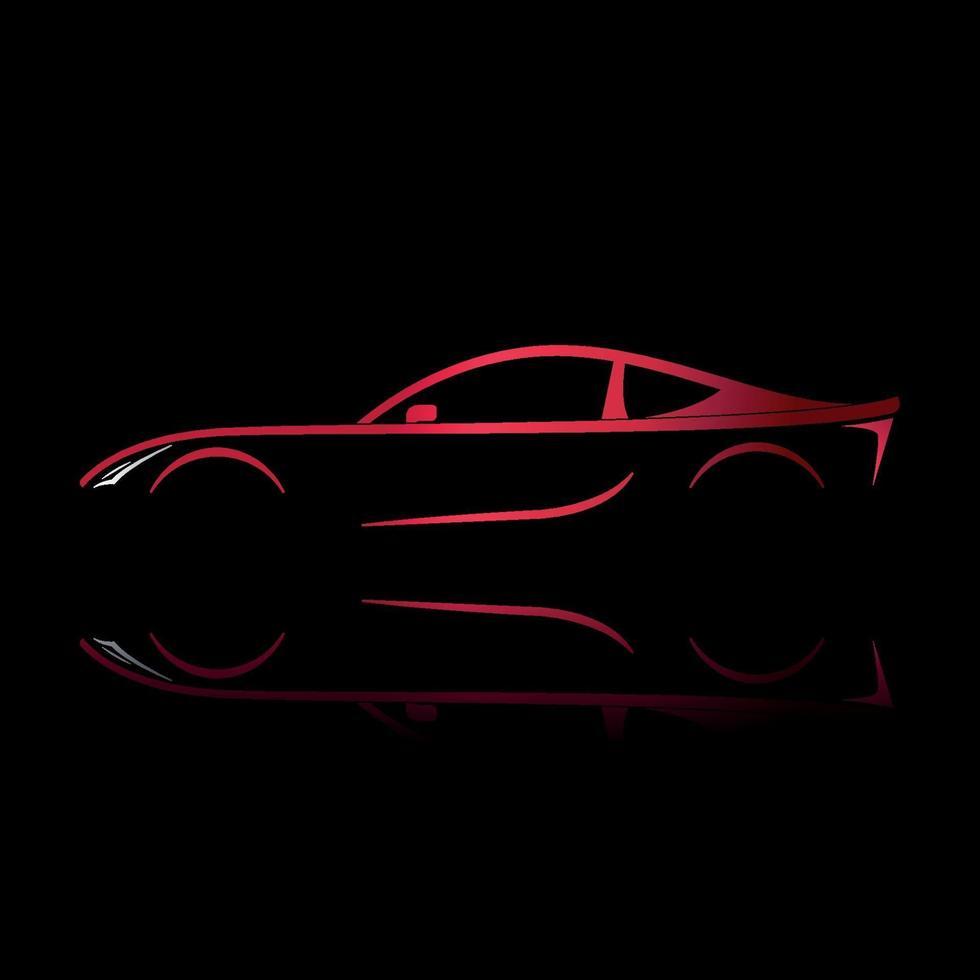 coche deportivo rojo. silueta sobre fondo negro. vector