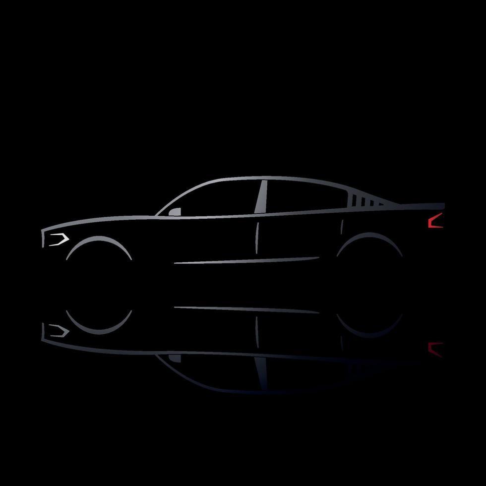 diseño de un coche plateado sobre fondo negro. vector