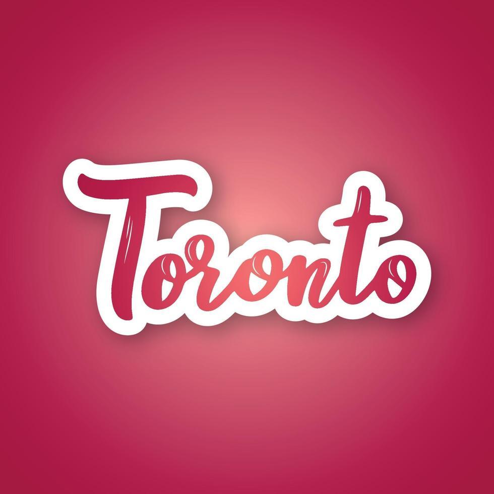 toronto - nombre escrito a mano de la ciudad canadiense. pegatina con letras en estilo de corte de papel. vector