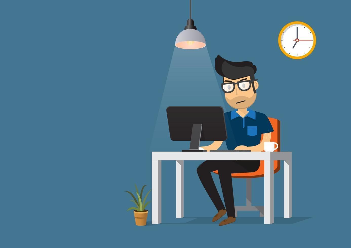 hombre que trabaja en el escritorio con computadora y taza de café. vector