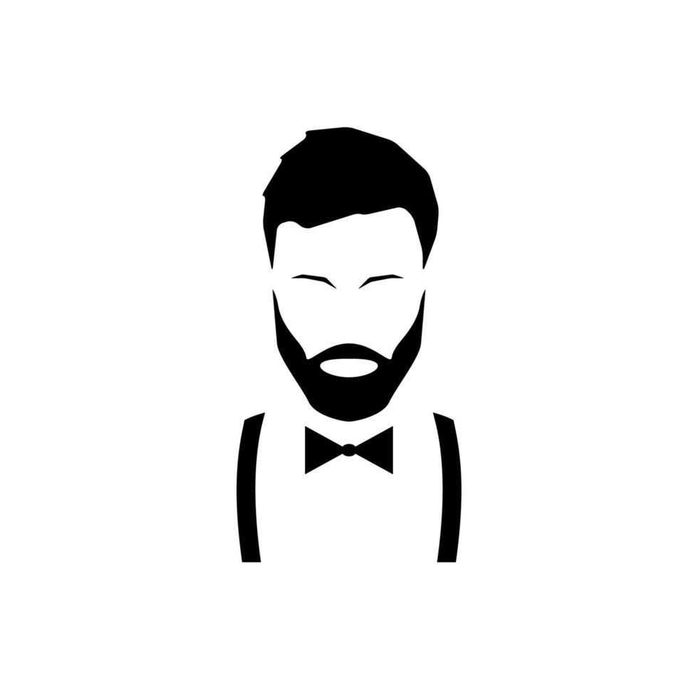 avatar hipster con barba en tirantes y pajarita. vector