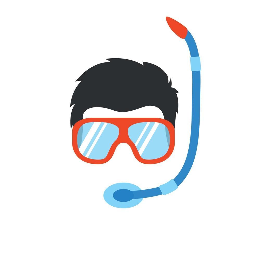 retrato de hombre en equipo especial para natación subacuática. buzo. icono de personas de estilo plano. vector